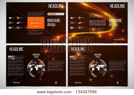 Vector set of tri-fold brochure design template on both sides with world globe element. Abstract lines background, dynamic glowing decoration, motion design, energy style vector illustration
