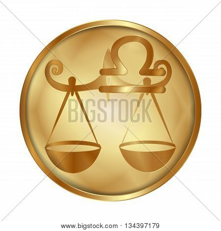 Vector illustration of zodiac sign Libra on a gold disk in the form of a medallion. Isolated object can be used with any image or text.