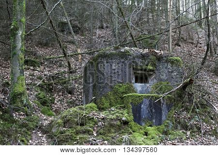 French Bunker Near Langensoultzbach, Vosges, France. It Was Built Before Wwii As Part Of The Maginot