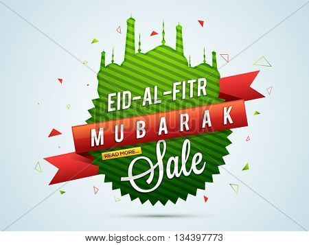 Eid-Al-Fitr Mubarak Sale, Sale Paper Tag, Paper Banner, Sale Ribbon, Sale Background, Creative illustration in Mosque shape for Muslim Community Festival celebration.