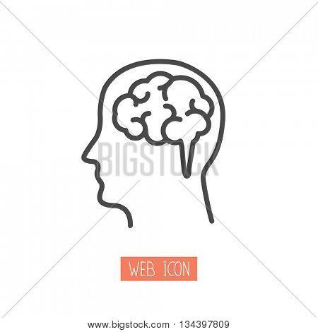 Head with brain vector icon