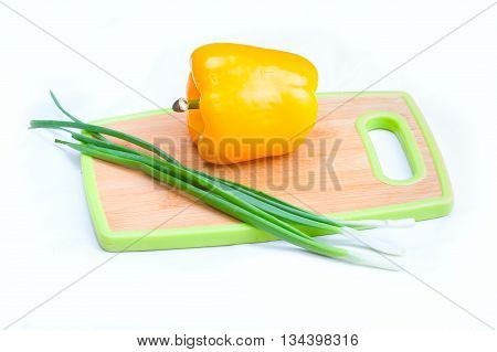 Onions Paprica Vegetables On  White Background