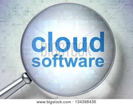 Cloud networking concept: magnifying optical glass with words Cloud Software on digital background, 3D rendering