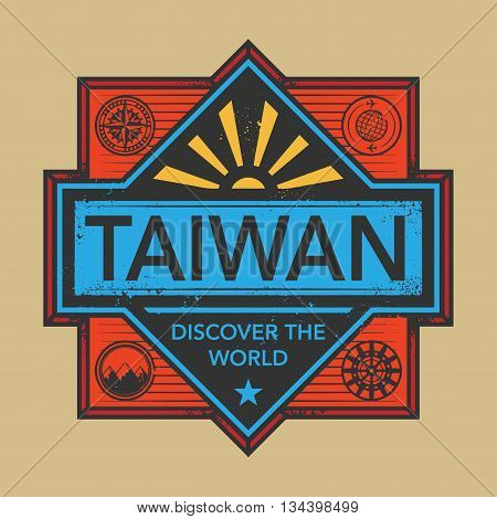Stamp or vintage emblem with text Taiwan, Discover the World, vector illustration