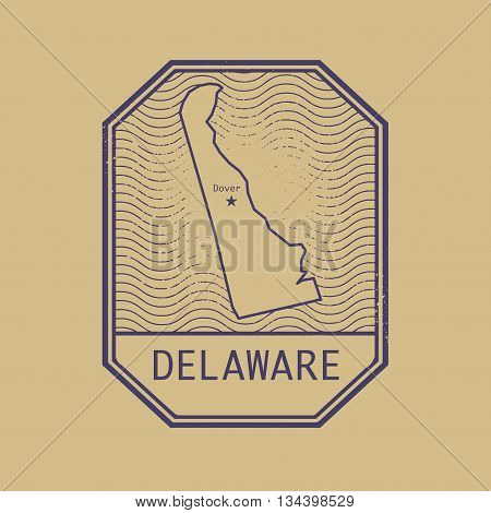 Stamp with the name and map of Delaware, United States, vector illustration