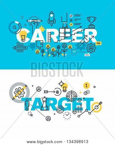 Set of modern vector illustration concepts of words career and target. Thin line flat design banners for website and mobile website, easy to use and highly customizable.