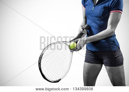 Tennis player holding a racquet ready to serve against white background with vignette