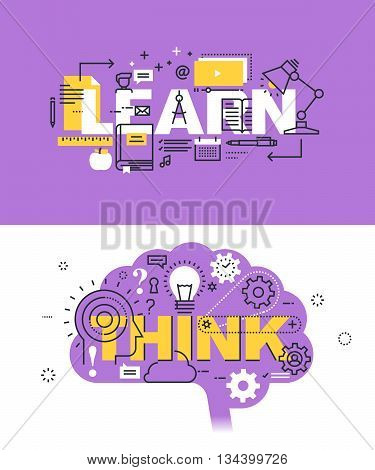 Set of modern vector illustration concepts of words learn and think. Thin line flat design banners for website and mobile website, easy to use and highly customizable.
