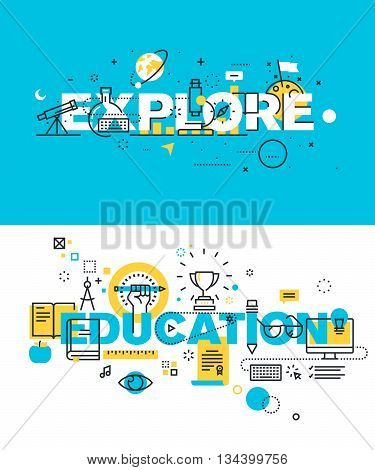 Set of modern vector illustration concepts of words explore and education. Thin line flat design banners for website and mobile website, easy to use and highly customizable.