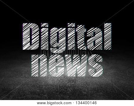 News concept: Glowing text Digital News in grunge dark room with Dirty Floor, black background