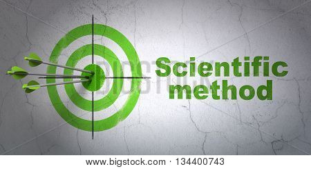 Success Science concept: arrows hitting the center of target, Green Scientific Method on wall background, 3D rendering