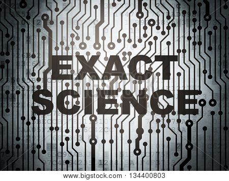 Science concept: circuit board with  word Exact Science, 3D rendering