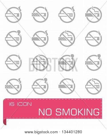 Vector No smoking icon set on grey background