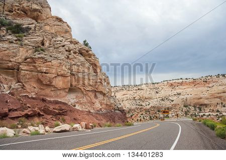 Highway Running Through Grand Staircase In Escalante National Monument, Utah,  Usa