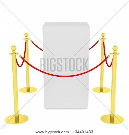 Empty showcase with tiled stand barriers for exhibit. Isolated on white background. 3D illustration