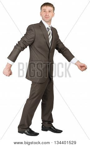 Businessman in suit ready to work isolated on white background. Looking at camera