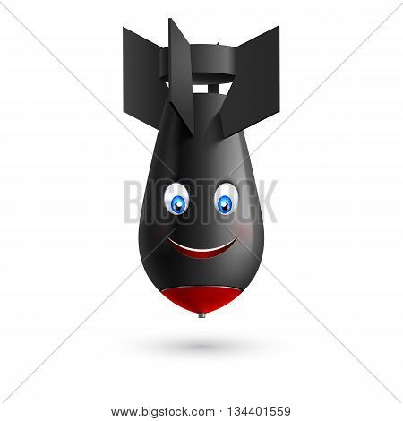 Illustration of black bomb with red tipped with smiling face