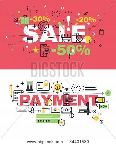 Set of modern vector illustration concepts of words sale and payment. Thin line flat design banners for website and mobile website, easy to use and highly customizable.