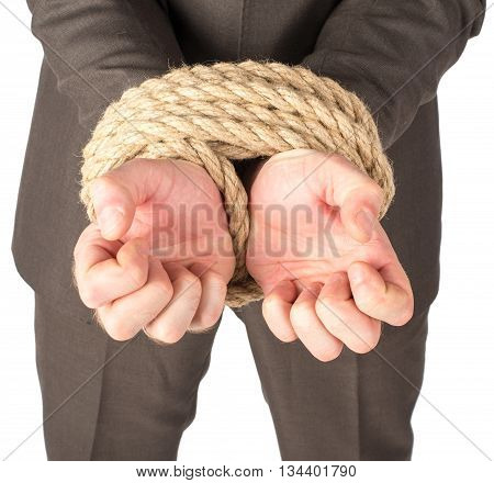 Businessman bound with rope isolated on white background