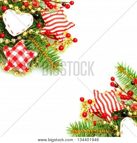 Christmas border with evergreen green fir twig and handmade decorations on background