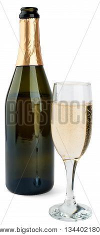 Champagne bottle and champagne glass isolated on white background