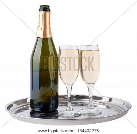 Champagne bottle and champagne glasses on tray isolated on white background