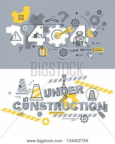 Set of modern vector illustration concepts of terms 404 and under construction. Thin line flat design background and banners for website and mobile website, easy to use and highly customizable.