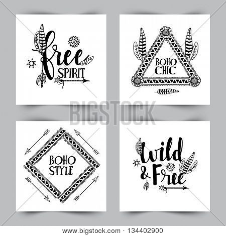 Boho style cards set with ethnic elements and different typographic collection on white background.