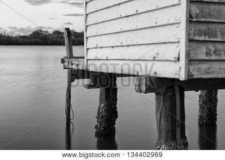 Maroochy River Boat House in the late afternoon in Maroochydore, Sunshine Coast. Black and White image.