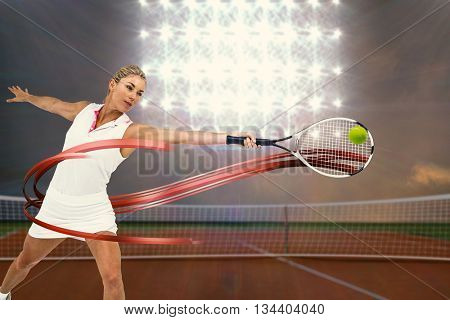 Athlete playing tennis with a racket against digitally generated image of tennis court and spotlight