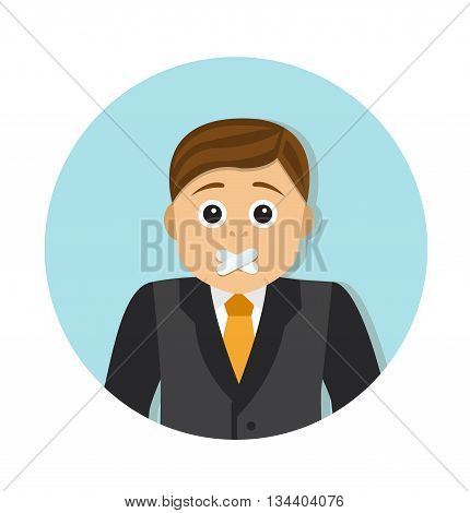 Businessman with mouth sealed want to say something