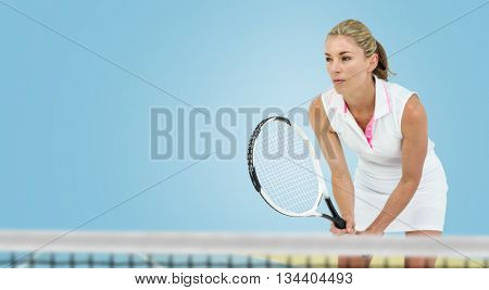 Athlete playing tennis with a racket against digitally generated image of bi colored background