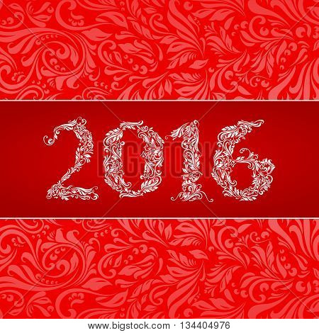 Elegant red banner for year Twenty-Sixteen over ornate floral pattern background