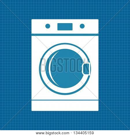 Washing machine. Washer icon. Vector illustration on blueprint background