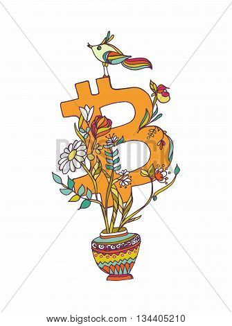 Bitcoin Symbol  With Flowers And Bird