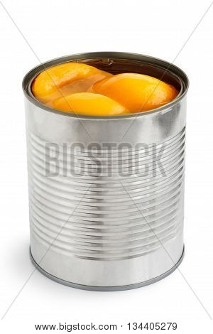 Open Can Of Peach Halves In Syrup In Perspective. Isolated On White.
