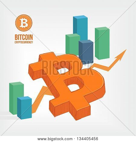 abstract Bitcoin symbol infographic. Business concept illustration