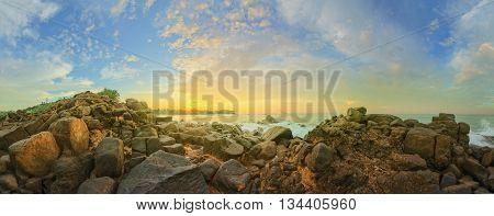 Romantic untouched tropical beach on sunset, Sri Lanka