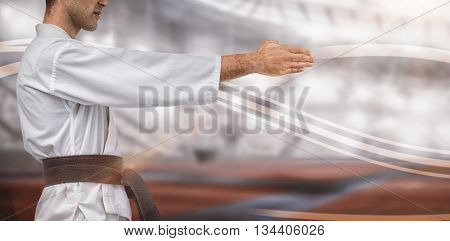 Mid section of fighter performing karate stance against composite image of american stadium