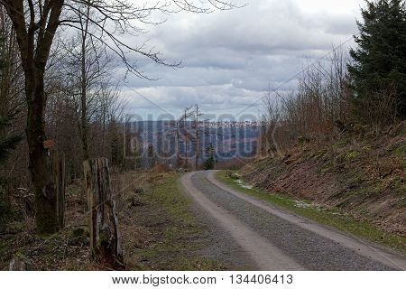 Mountain Road In Black Forest, Baden-wurttemberg, Germany. In The Background The Town Of Dobel Can B