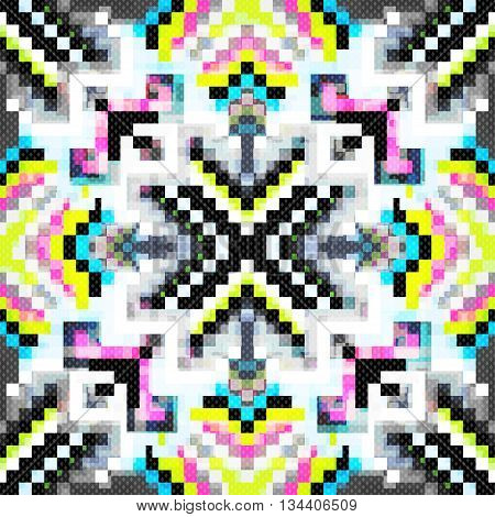 Beautiful seamless pattern of colored pixels vector illustration abstract high quality