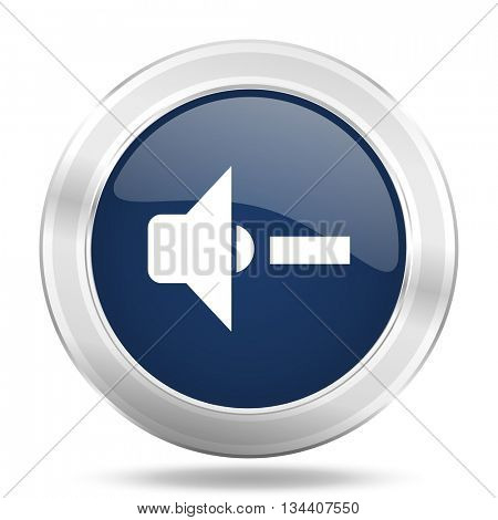 speaker volume icon, dark blue round metallic internet button, web and mobile app illustration