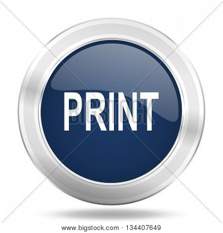 print icon, dark blue round metallic internet button, web and mobile app illustration