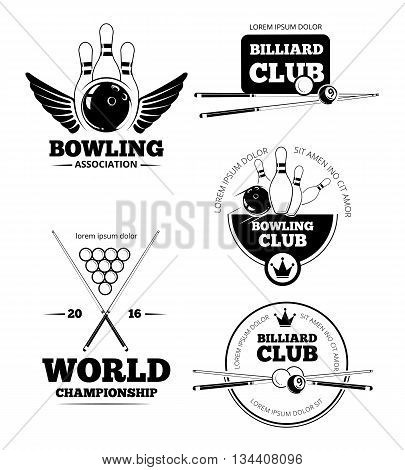 Billiards emblems and bowling vector labels, emblems and badges set. Label billiard, bowling label, design billiard, competition billiard, logo bowling, game bowling illustration