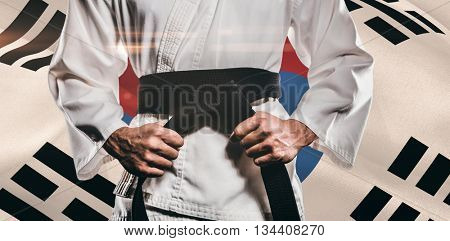 Fighter tightening karate belt against korea republic flag waving
