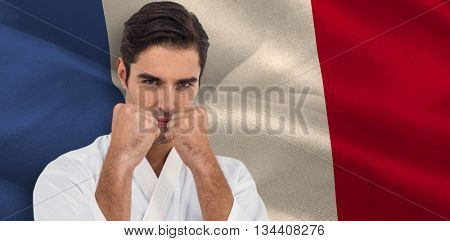 Fighter performing karate stance against digitally generated france national flag