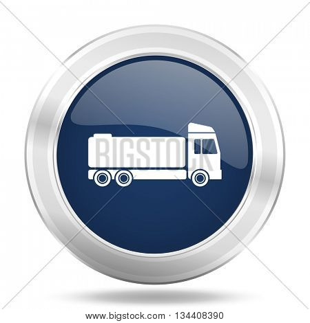 truck icon, dark blue round metallic internet button, web and mobile app illustration