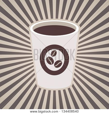 Vector coffee or tea cup and stripes beams rays in brown coffee milk white colors. Vintage design for menu brochures graphic and simple design. Hot espresso cappuccino or americano coffee beans