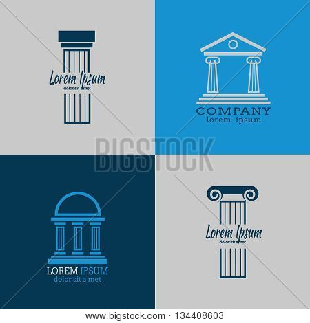Architectural vector logo templates with columns. Column architecture, roman column, antique column business logo illustration