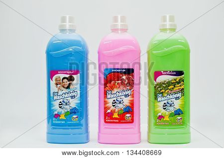 Berezovitsa, Ukraine - Circa June, 2016: Set Of Concentrated Fabric Softener Der Waschkonig